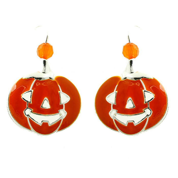 Halloween Costume Jewelry Pumpkin Charm Bead Fashion Earrings E1216 Orange
