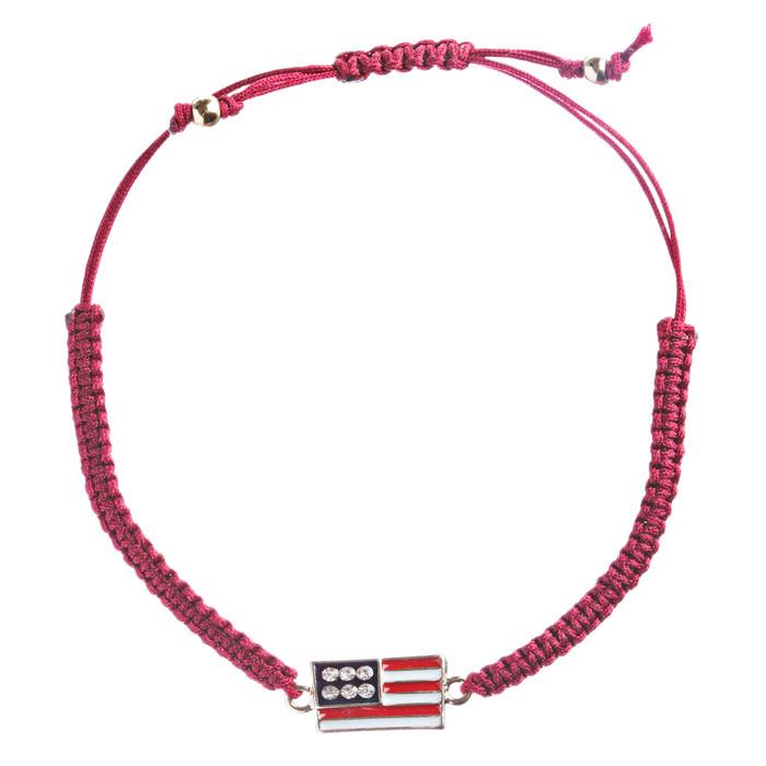 Patriotic American Flag Crystal Rhinestone Braided Adjustable Bracelet B366 Red