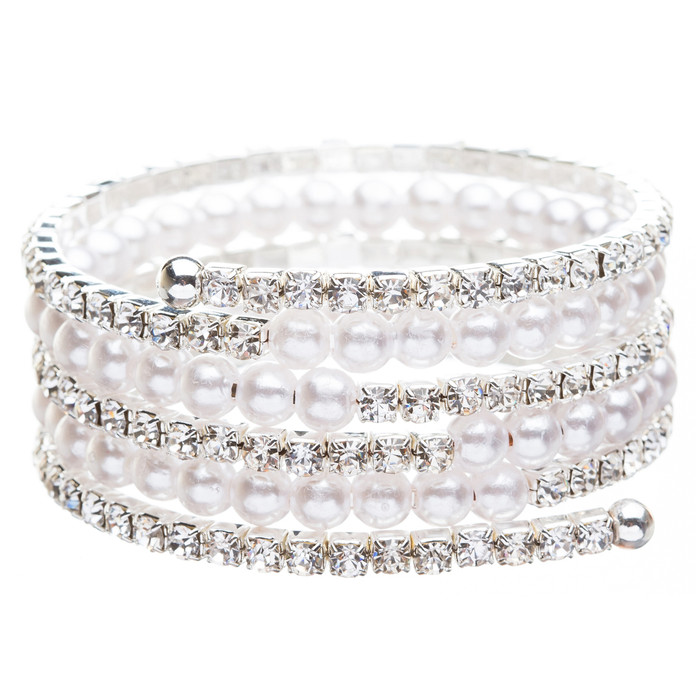 Bridal Wedding Jewelry Crystal Rhinestone Pearl Beautiful Wrap Bracelet B402 SV