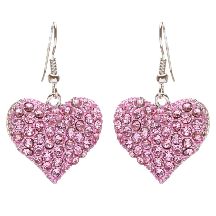 Lovely Sweet Beautiful Heart Shape Charm Valentine's Dangle Earring E678 Pink