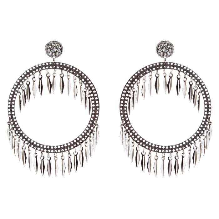 Draped Tassel Dangle Hoop Crystal Earrings Black