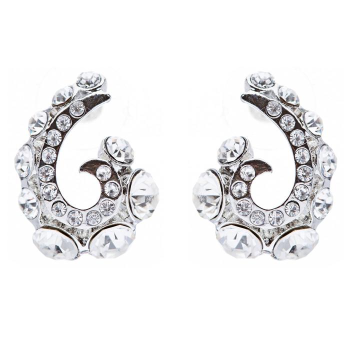 Wave Hook Design Crystal Rhinestone Stud Earring Silver