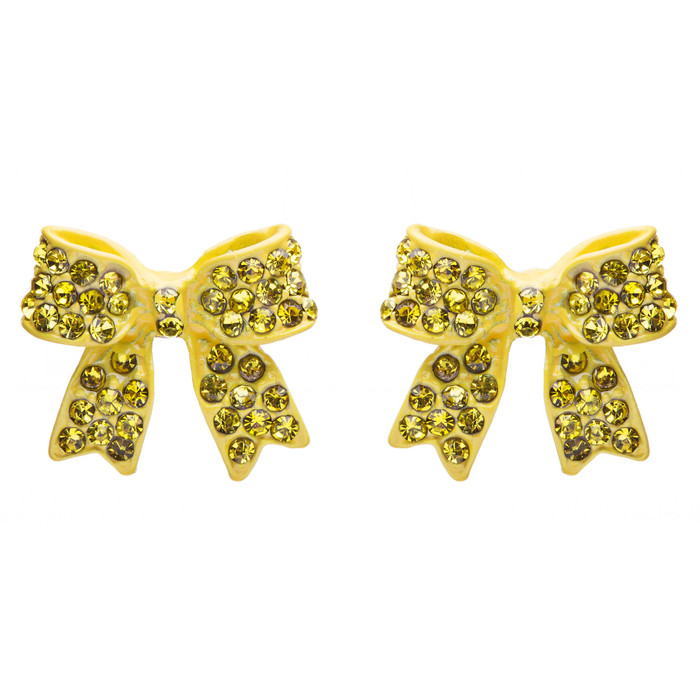 Fashion Crystal Pave Bow Ribbon Stud Earrings Yellow