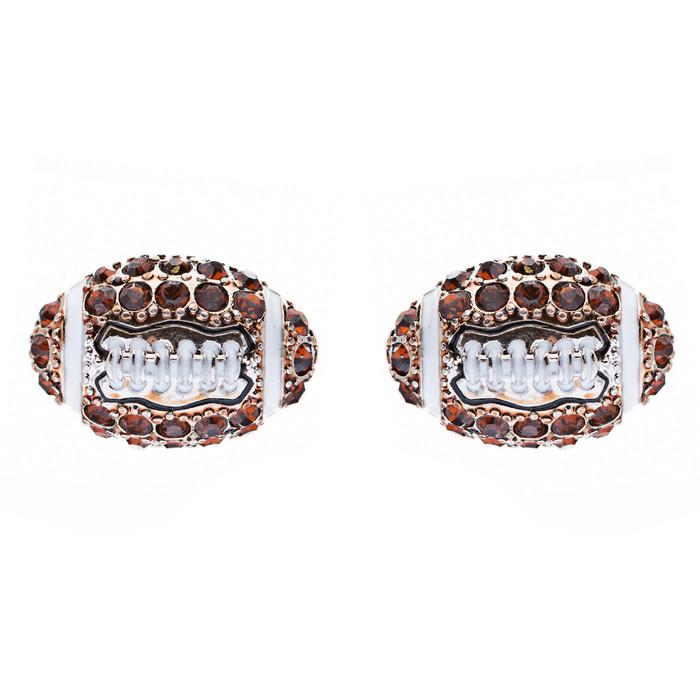 Sport Football Crystal Rhinestone 14mm Drop Stud Fashion Earrings Silver