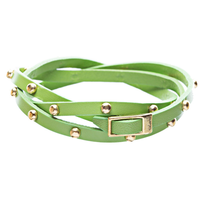 Green Gold Studded Italian Calf Leather Wrap Bracelet