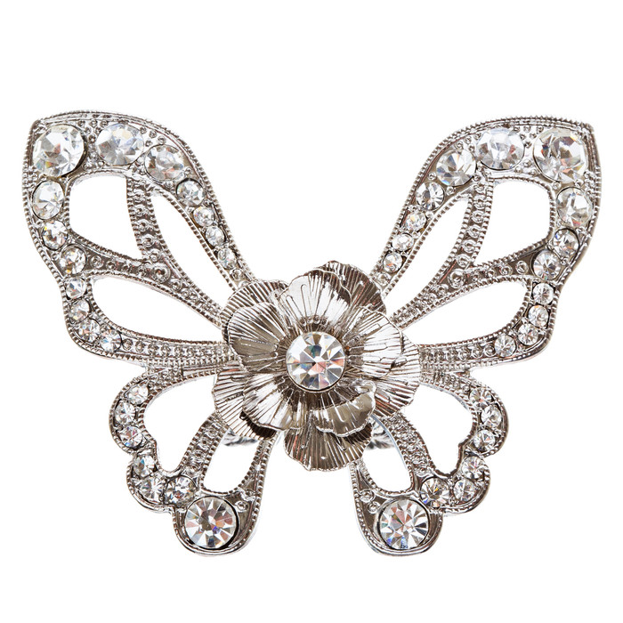 Flower Accented Butterfly Stretch Ring Rhodium Silver