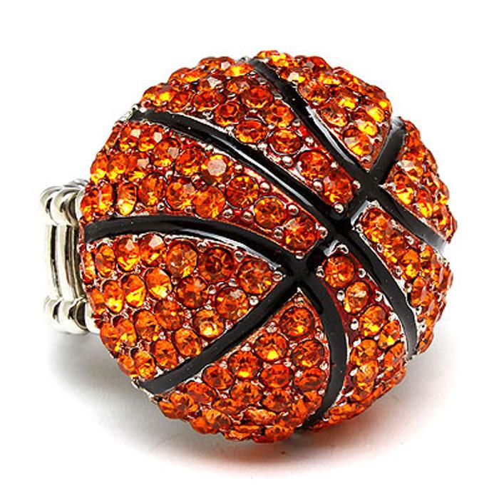 Sport Basketball Crystal Rhinestone Stretch Ring Orange