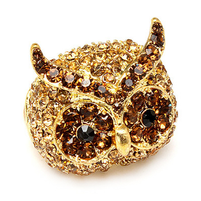 Owl Animal Crystal Rhinestone Stretch Ring Gold Topaz