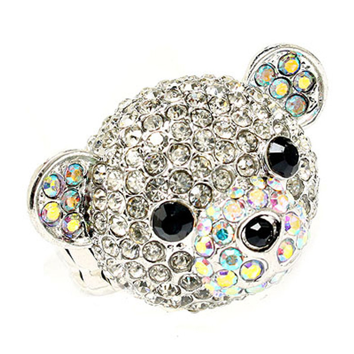 Bear Head Crystal Animal Stretch Adjustable Fashion Ring Clear AB Silver