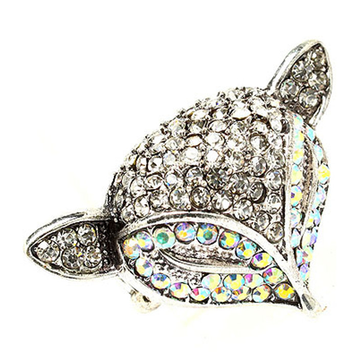 Fox Head Crystal Animal Stretch Adjustable Fashion Ring Antique Silver AB Clear