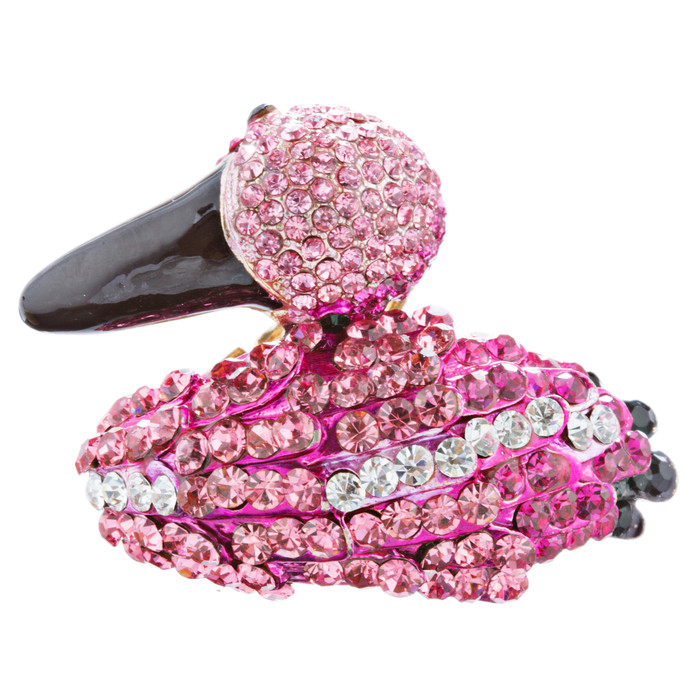 Flamingo Crystal Pave Animal Stretch Adjustable Fashion Ring Gold Fuchsia Pink