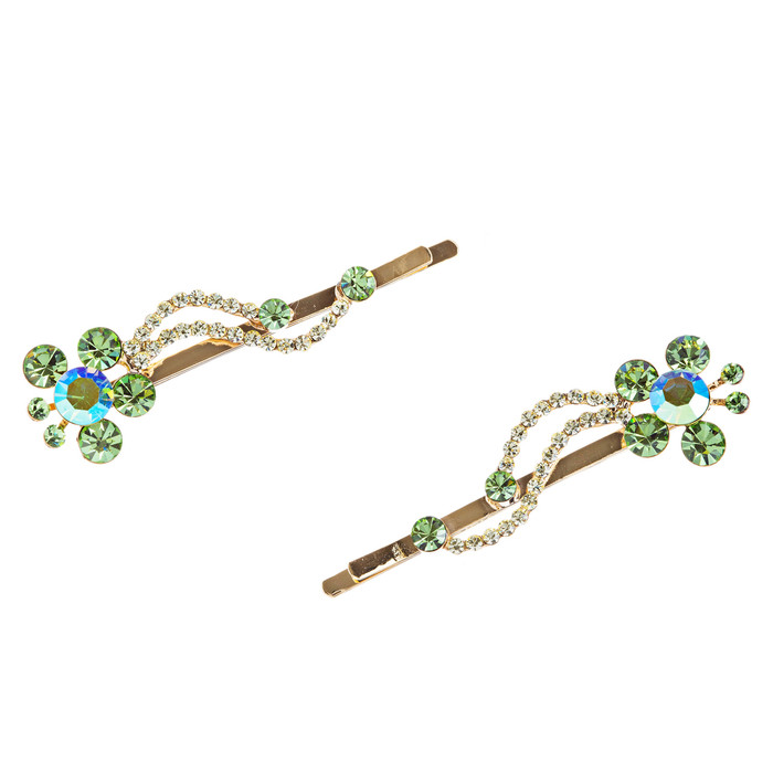 Austrian Crystal Hair Clips (Pair) Jewelry Green
