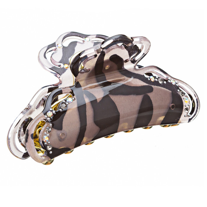 Woman Hair Claw Lucite Animal Print Crystal Brown NEW