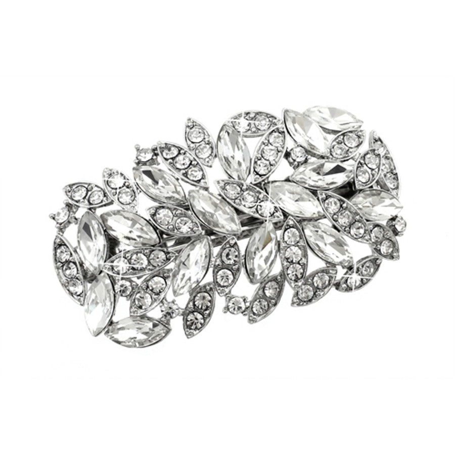 Bridal Wedding Jewelry Crystal Navette Wide Sparkle Hair Barrette Clip Silver