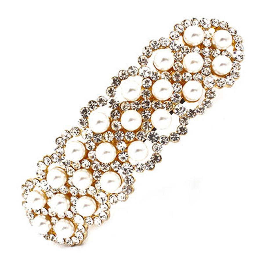 Bridal Wedding Jewelry Crystal Rhinestone Pearl 3-Row Hair Barrette Clip Gold