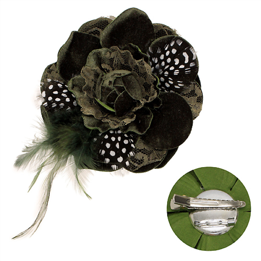 Velvet & Lace Double Layer Feather Flower Corsage Brooch 2 Way Hair Pin Green