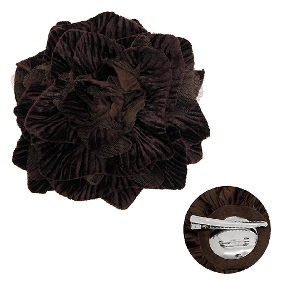 2-Way Velvet Big Flower Corsage Brooch Hair Pin Brown