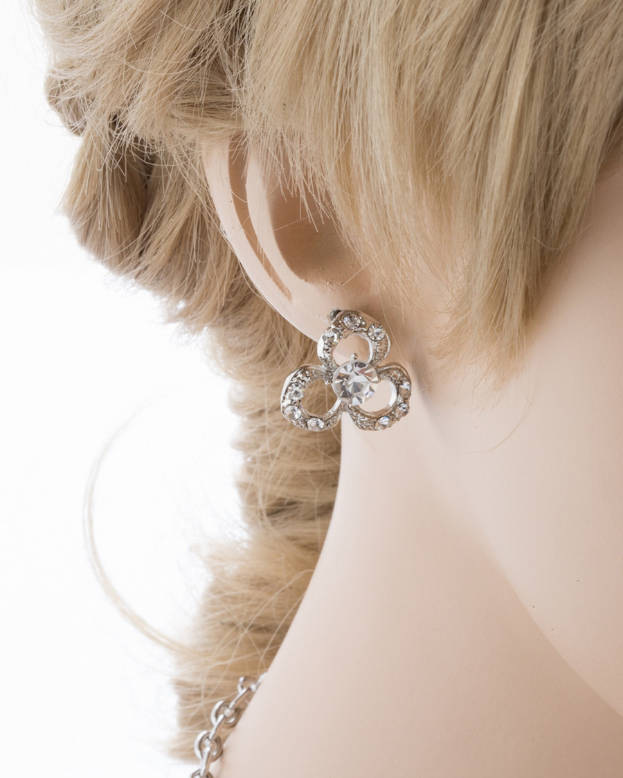 Bridal Wedding Jewelry Set Crystal Rhinestone Romantic Floral Design Necklace