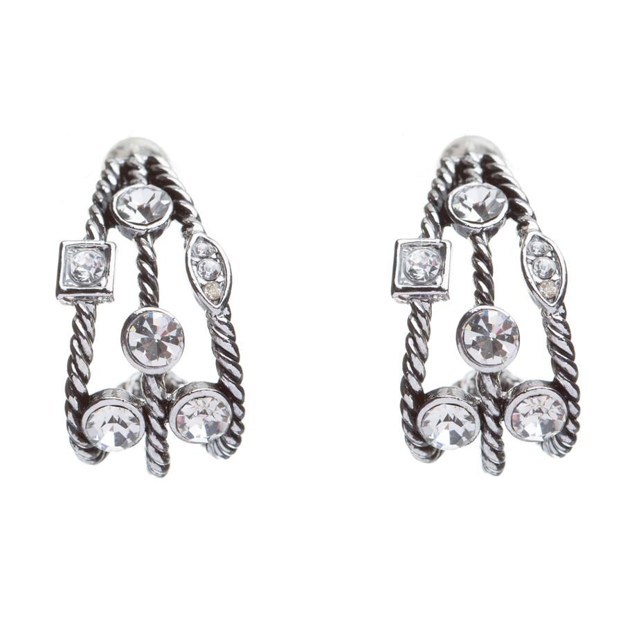 Fashion Trendy Chic Crystal Rhinestone Stylish Sparkle Hoop Earrings Silver