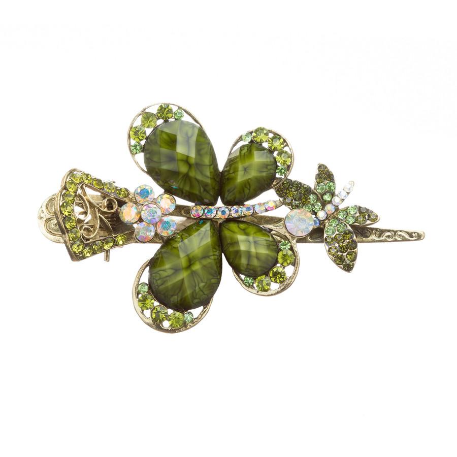 Beautiful Fashion Women Crystal Rhinestone Butterfly Hair Clip Pin Green
