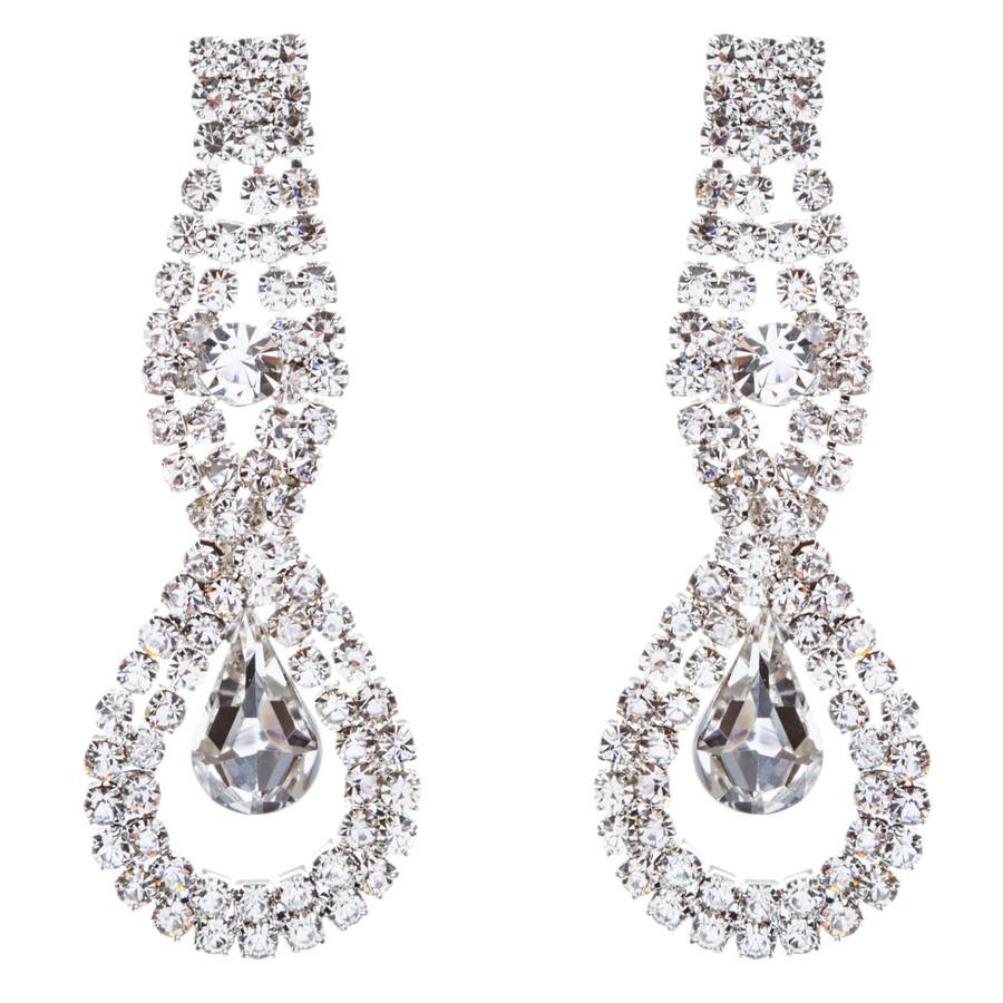 Bridal Wedding Jewelry Crystal Rhinestone Exquisite Tear Drop Earrings J587Clear