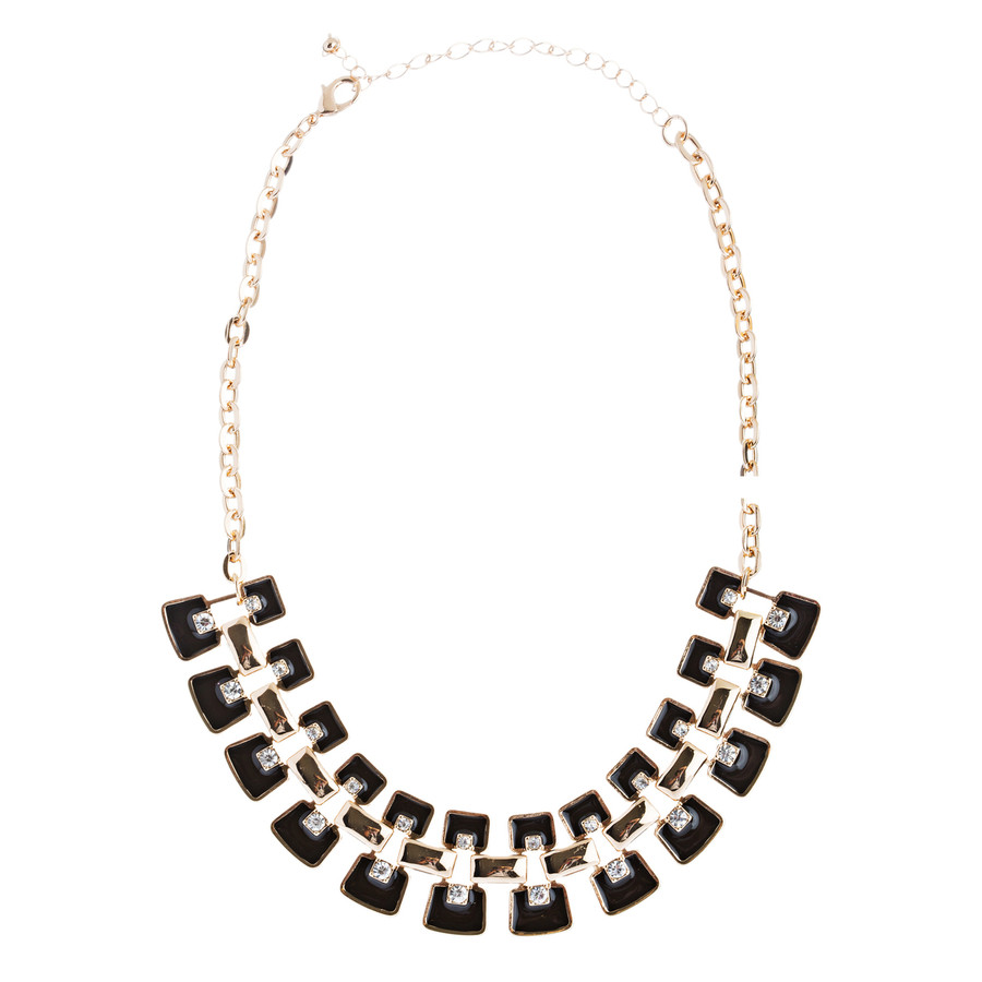 Modern Trendy Chic Bold Design Statement Necklace Set JN173 Black