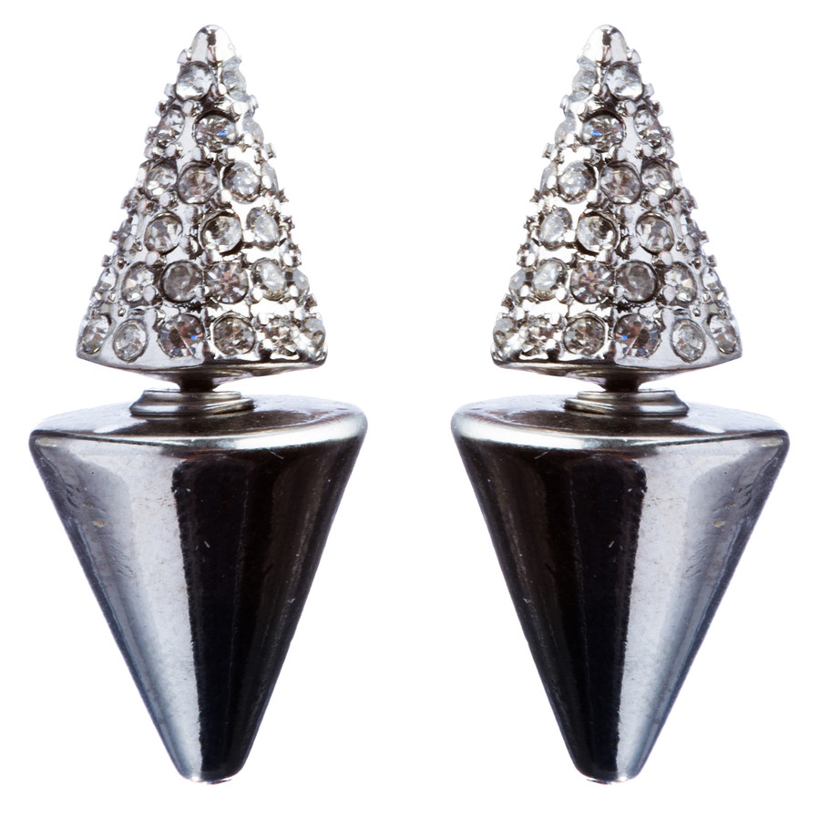 Fashionable Jewelry Crystal Rhinestone Exquisite Cone Design Earring E864 Silver