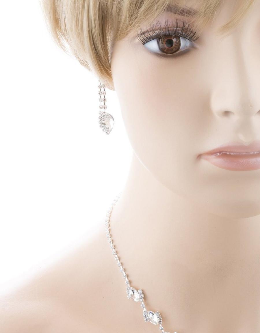 Bridal Wedding Jewelry Prom Crystal Rhinestone Classy Chic Necklace Set J669 SV