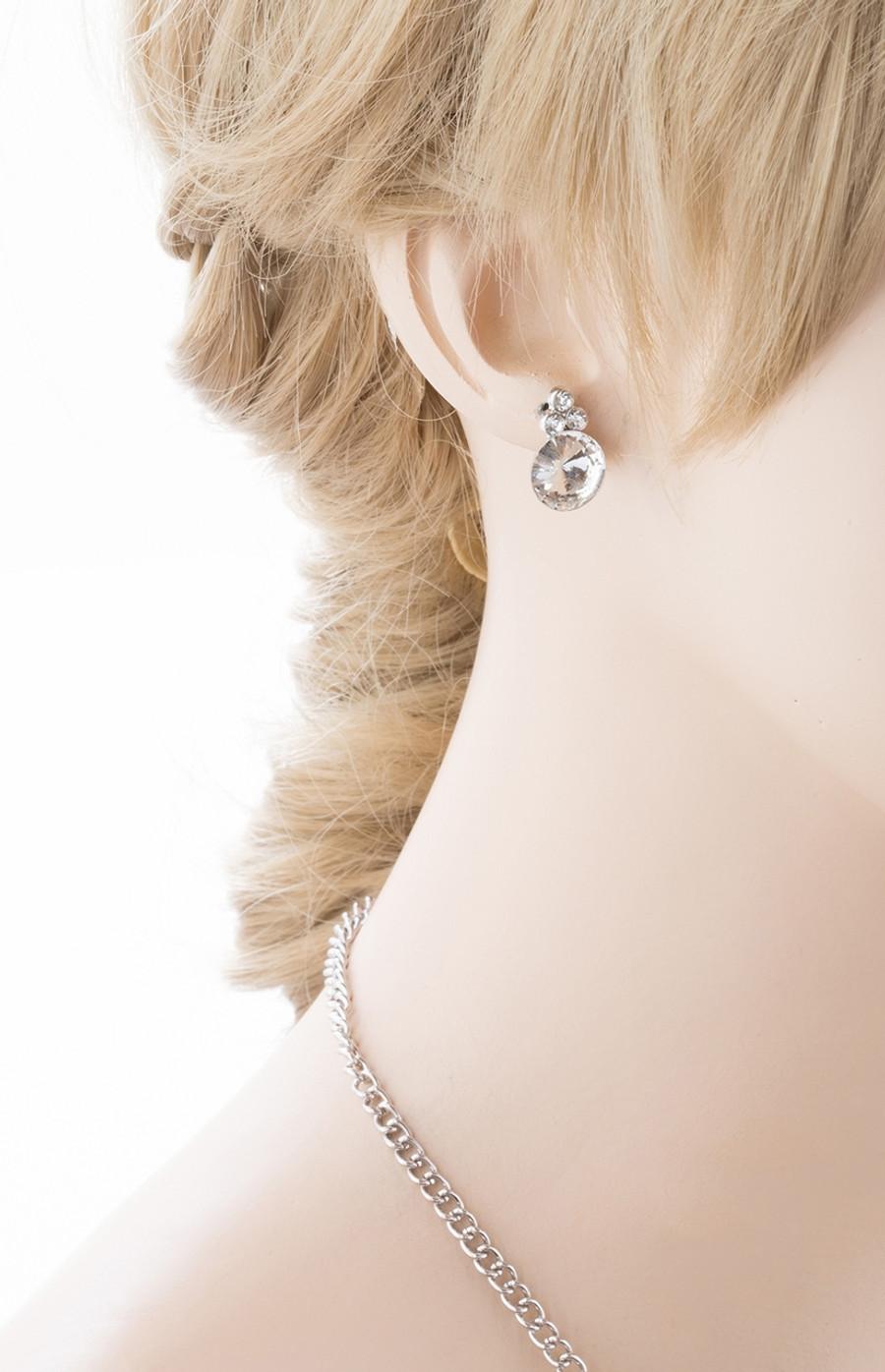 Bridal Wedding Jewelry Crystal Rhinestone Prom Necklace Earrings Set J724 Silver
