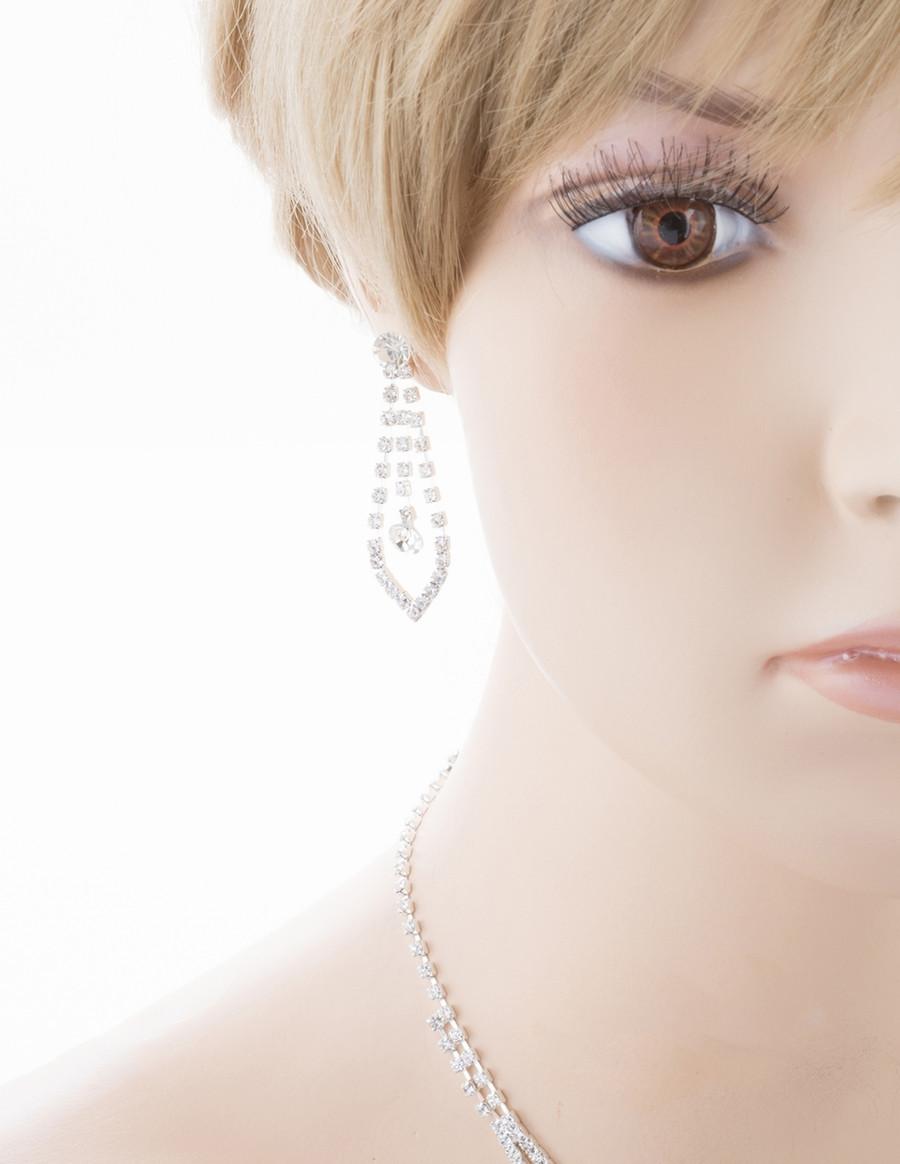 Bridal Wedding Jewelry Crystal Rhinestone Prom Necklace Earrings Set J725 Silver