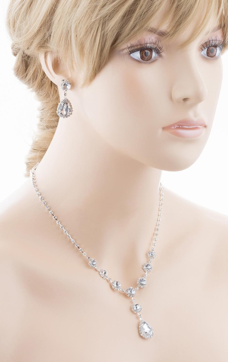 Bridal Wedding Jewelry Crystal Rhinestone Prom Necklace Earrings Set J726 Silver