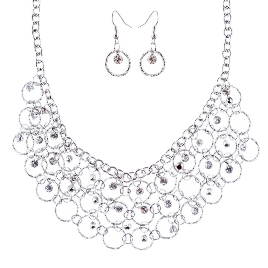 Beautiful Crystal Rhinestone Bridal Wedding Necklace Earrings Set JN277 Silver