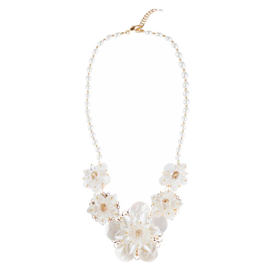 Enchanting Floral Design Bridal Wedding Bold Statement Necklace Set JN288 Gold