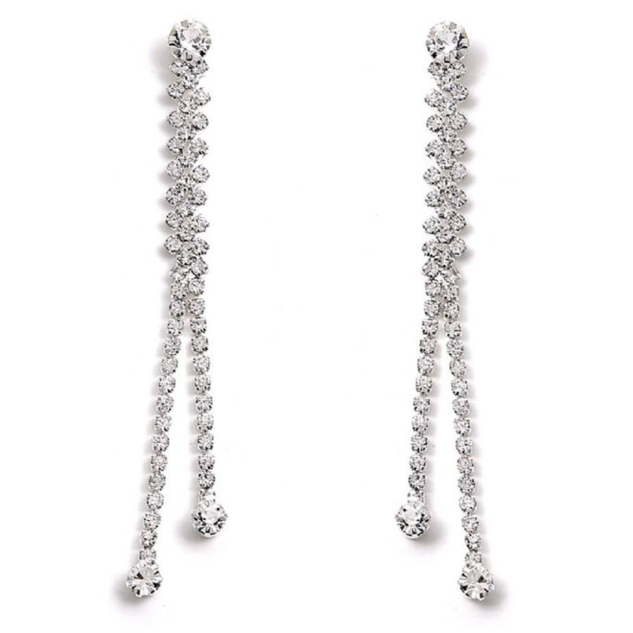 Bridal Wedding Jewelry Prom Crystal Rhinestone Simple Linear Drop Earrings E1149