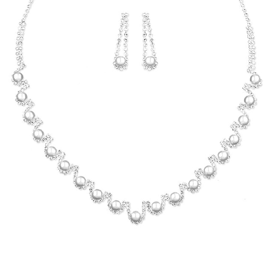 Bridal Wedding Prom Jewelry Set Crystal Rhinestone Pearl Elegant Necklace J735