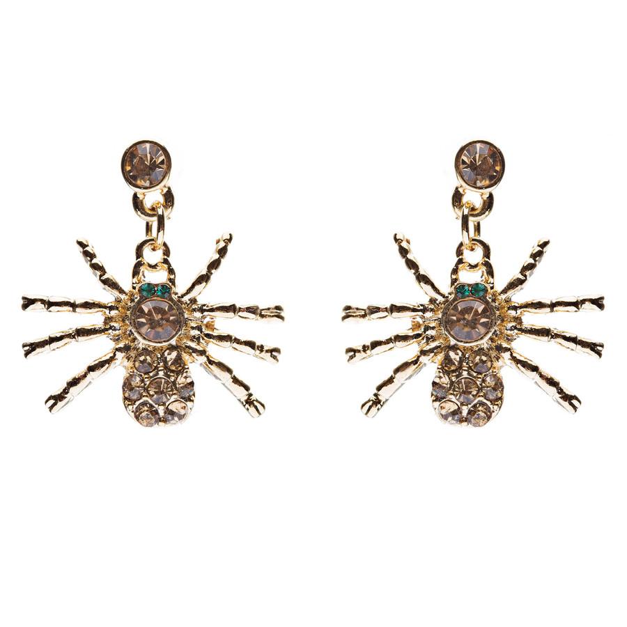 Halloween Costume Jewelry Spider Crystal Dangle Charm Earrings Gold Topaz
