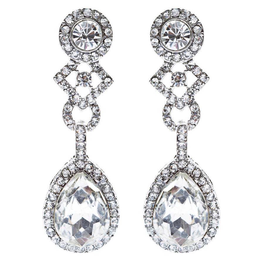 Bridal Wedding Jewelry Elegant Classic Teardrop Dangle Fashion Earrings Silver
