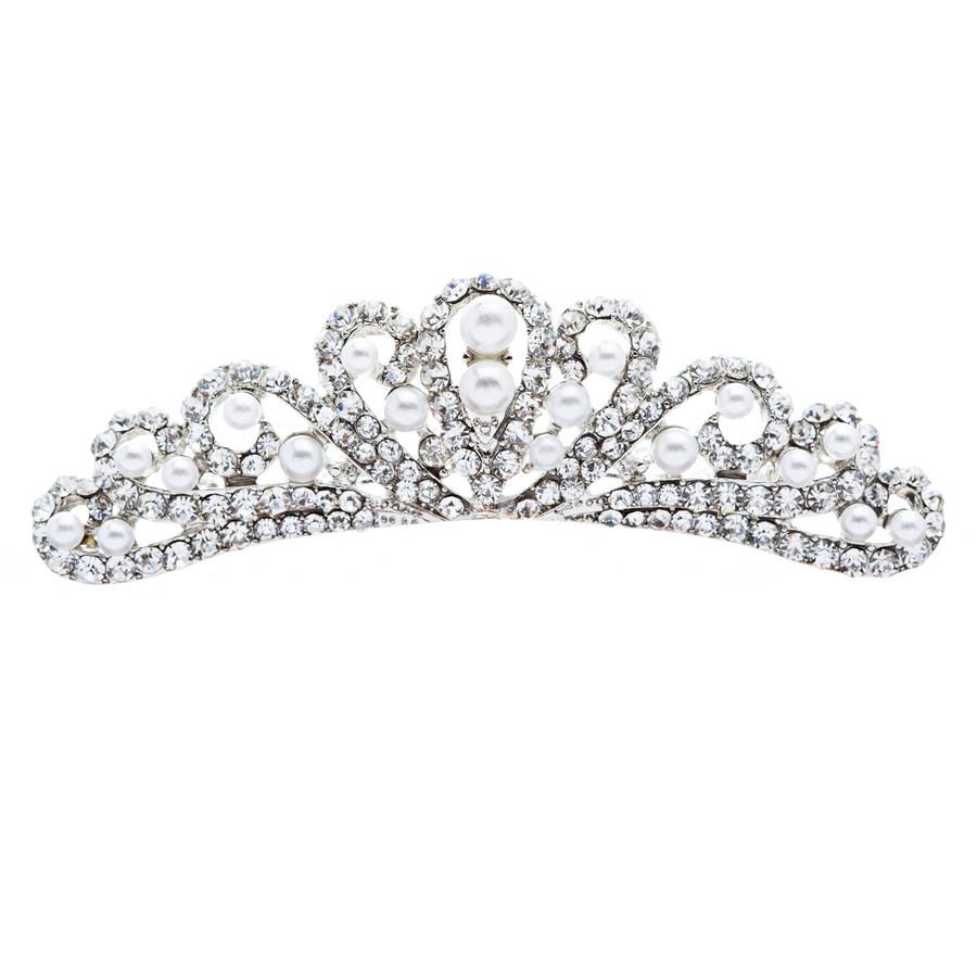 Bridal Wedding Jewelry Crystal Rhinestone Elegant Mid Size Crown Hair Tiara Comb
