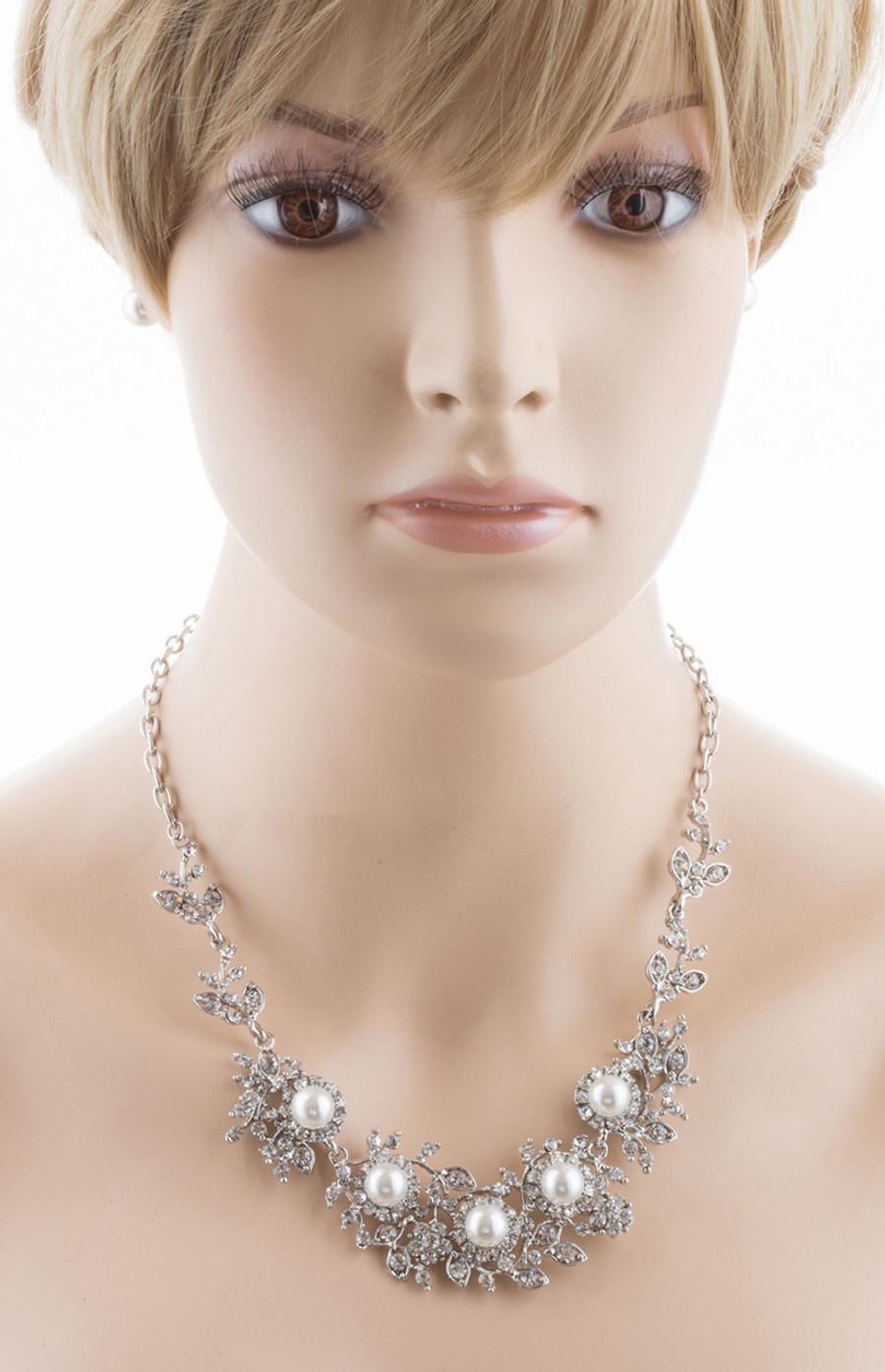 Bridal Wedding Jewelry Crystal Rhinestone Pearl Brilliant Elegant Necklace SV