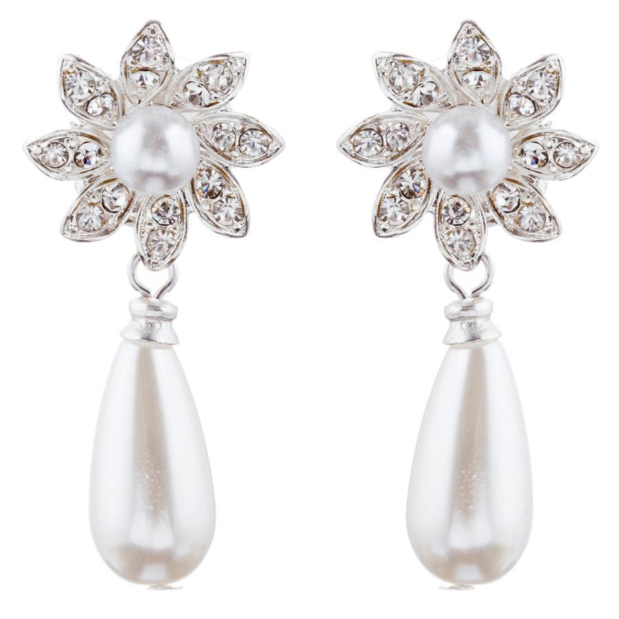 Bridal Wedding Jewelry Crystal Rhinestone Necklace Set Sweet Floral J425 Silver