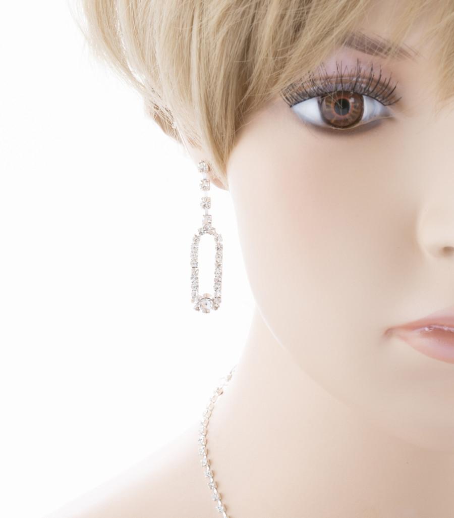 Bridal Wedding Jewelry Set Prom Crystal Rhinestone Beautiful Necklace J456 SV