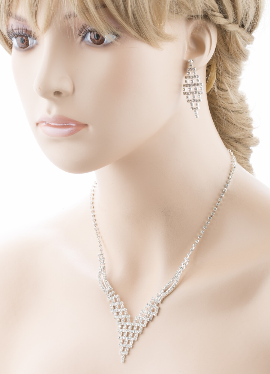 Bridal Wedding Jewelry Set Prom Crystal Rhinestone Trendy Chic Necklace J460 SV