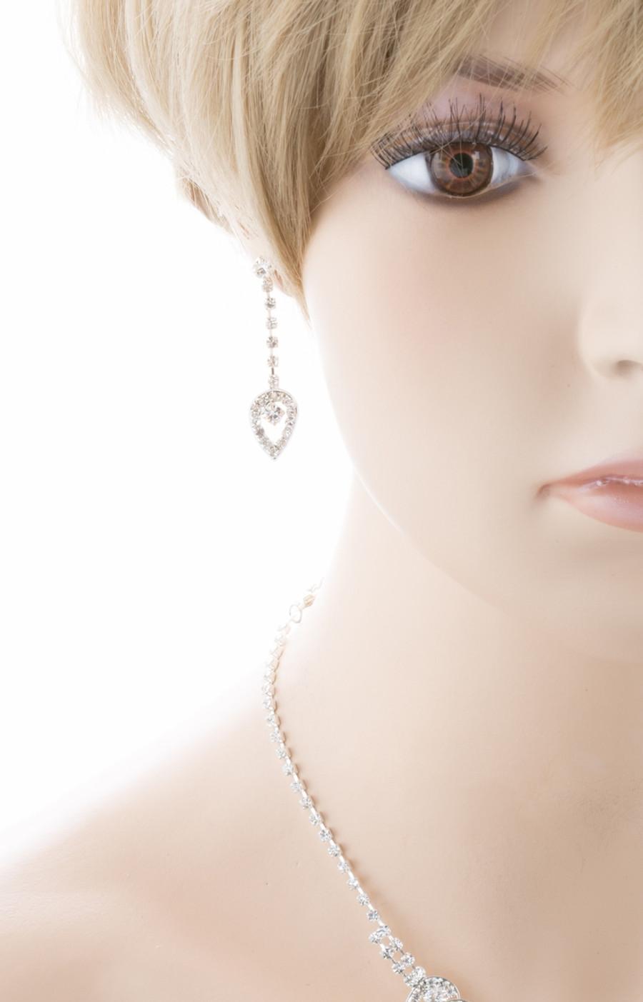 Bridal Wedding Jewelry Set Prom Crystal Rhinestone Dazzling Necklace J464 SV