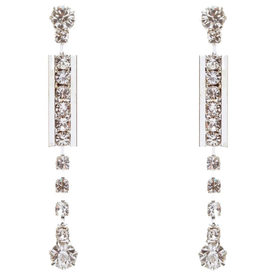 Bridal Wedding Jewelry Set Prom Crystal Rhinestone Simple YDrop Necklace J466 SV