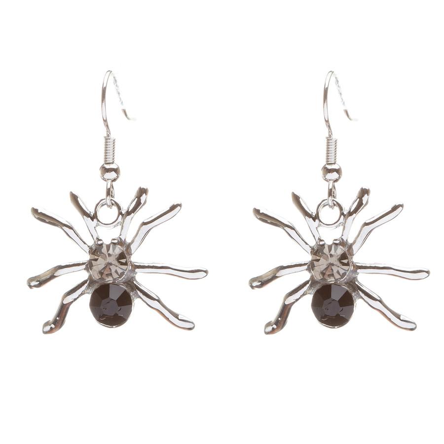 Halloween Costume Jewelry Crystal Rhinestone Spider Dangle Earrings E677 Black