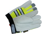 Hi-Vis Grain Goatskin Multi-Task Glove w/ Velcro Closure and Thinsulate Lining, Lime (PAIR) - All Sizes