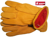 Deerskin Leather Palm Gloves with Fleece Lining and Split Leather Back (PAIR) - All Sizes