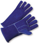 Welding Gloves With Blue Leather & Kevlar Stitches By The Pair - Men's Size Only
