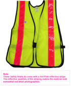 Soft Mesh Lime Safety Vests with Pink Stripes pic 2