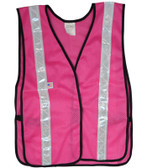 Soft Mesh Hot Pink Safety Vests with Silver Stripes pic 2